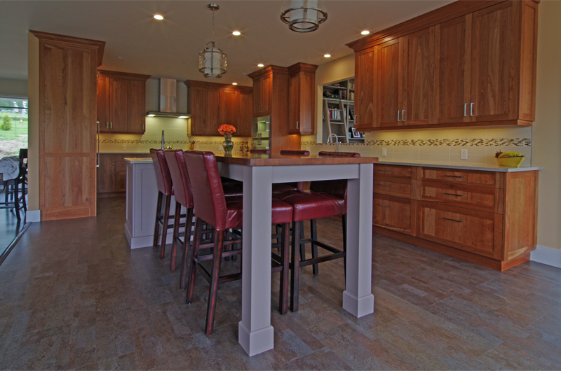 Modern custom kitchen - solid cherry
